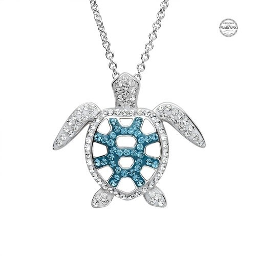 Shanore Pendant: SS White/Blue SW Crystal Turtle