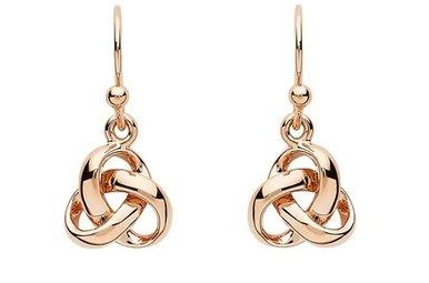 Earrings: SS Rose Gld Trinity Drop