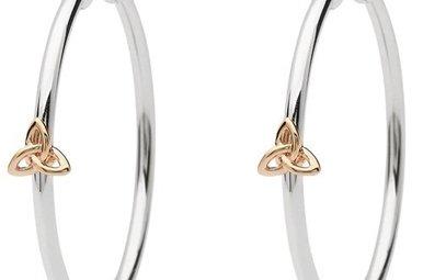 Earrings: SS Rose Gld Trinity Hoop