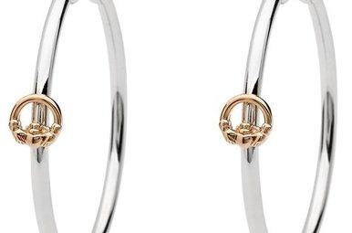 Earrings: Ss Rose Gld Claddagh Hoop