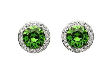 Earrings: Green/White Swarovski