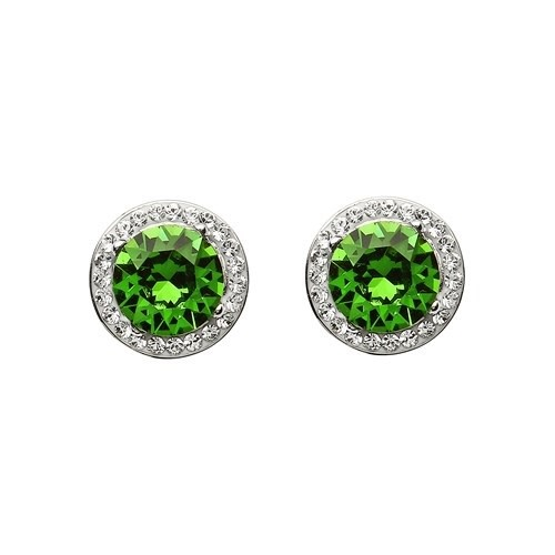 Shanore Earrings: Green/White Swarovski