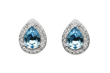 Earrings: Aqua/White Tear Drop Swarovski