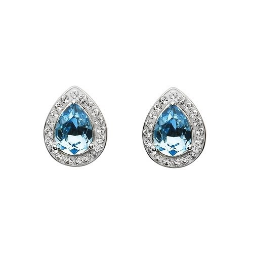 Shanore Earrings: Aqua/White Tear Drop Swarovski