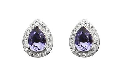 Earrings: SS Tanzanite/White Tear Drop