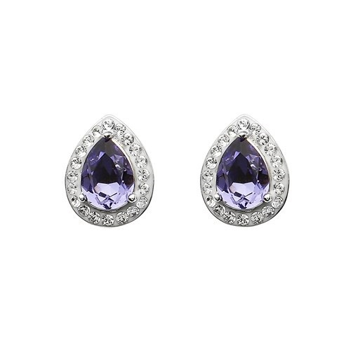 Shanore Earrings: SS Tanzanite/White Tear Drop