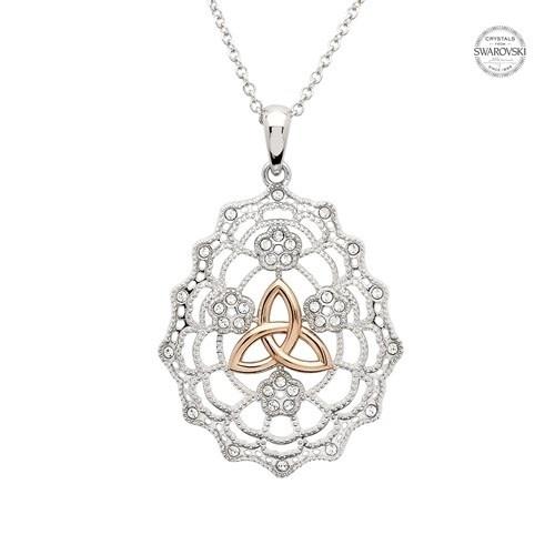 Shanore Necklace: SS Irish Lace Rose Gld Trinity