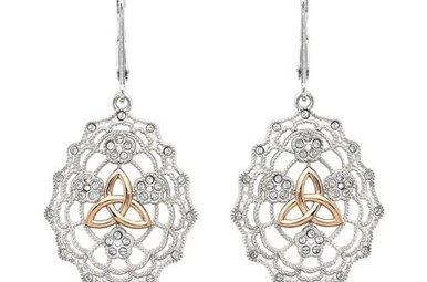 Earrings: SS Irish Lace Rose Gld Trinity