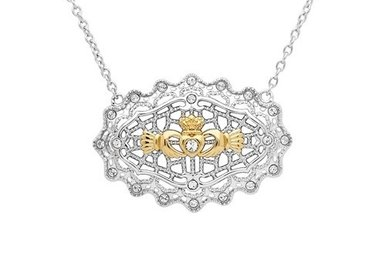 Necklace: SS Irish Lace Gld Plt Claddagh