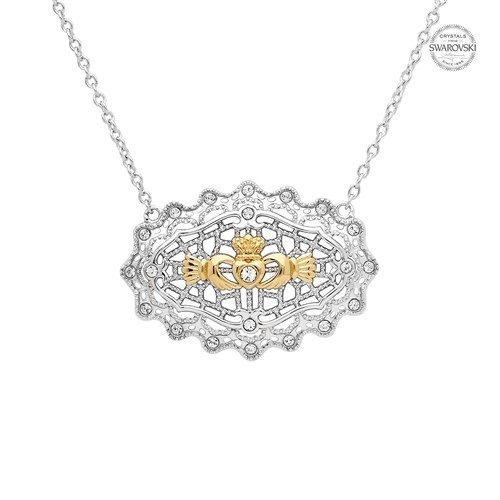 Shanore Necklace: SS Irish Lace Gld Plt Claddagh