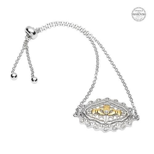 Shanore Bracelet: SS Irish Lace Gld Pl Claddagh