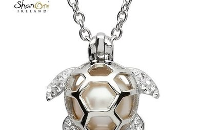 Pendant: SS Turtle Cage Pearl