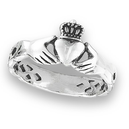 Ring: SS Claddagh w/Celtic Weave