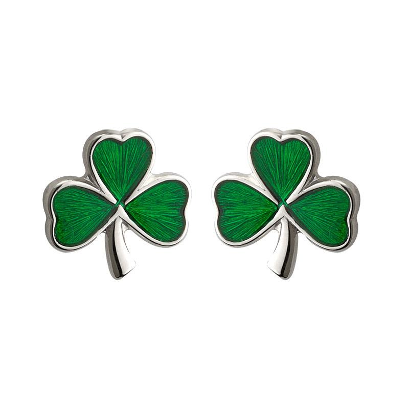 Earrings: SS Green Enamel Shamrock
