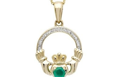 Pendant: 14k Emerald/Diamond Claddagh .06