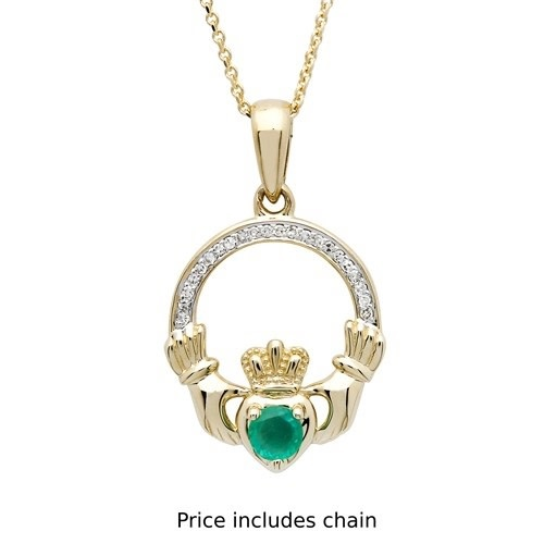 Shanore Pendant: 14k Emerald/Diamond Claddagh .06