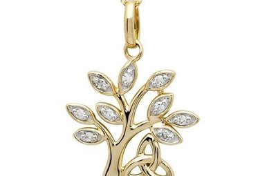 Pendant: 14k Diamond Tree of Life .10