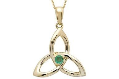 Pendant: 14k Emerald Trinity