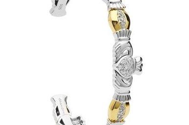 Bracelet: Bangle CZ GP Claddagh