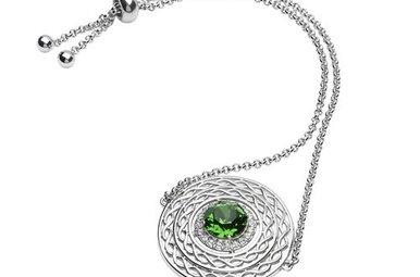 Bracelet: SS Green/White Swarovski