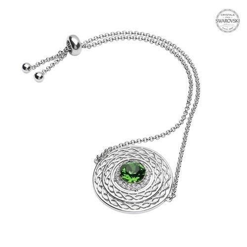 Shanore Bracelet: SS Green/White Swarovski