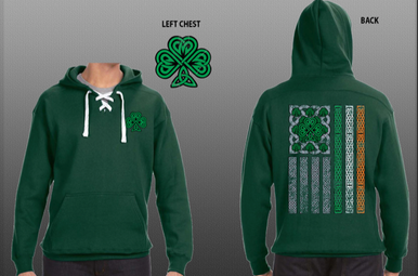 Hoodie: Shamrock Irish Flag Green