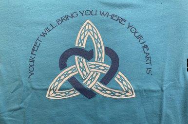 T Shirt:  Womens Blue Trinity Heart V Neck