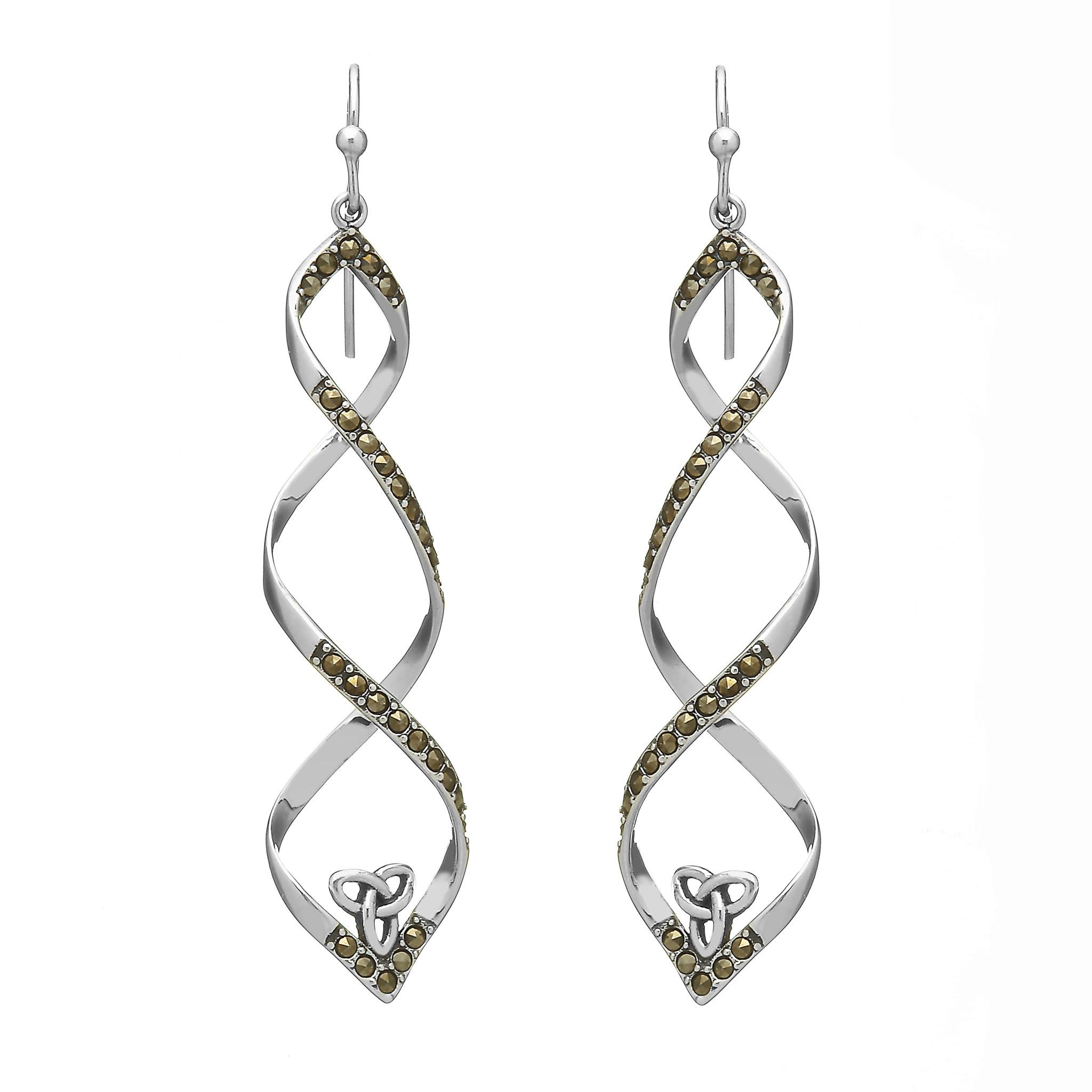 Anu Earrings: SS Marcasite Trin Twist