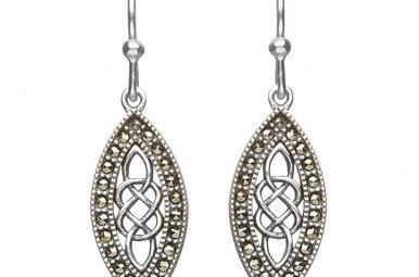 Earrings: SS Marcasite Celtic Drop