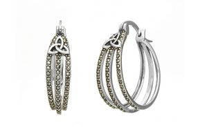 Earrings: SS Marcasite Trin Hoop