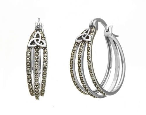 Anu Earrings: SS Marcasite Trin Hoop