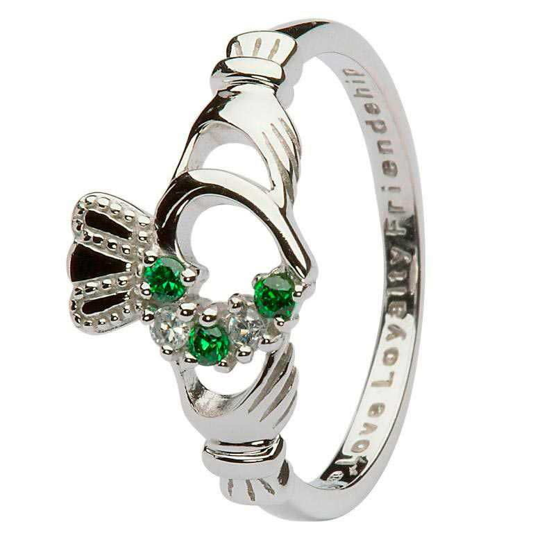 Shanore Ring: SS Grn CZ Claddagh