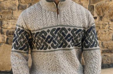 Sweater: Celtic Half Zip Jacquard Mens