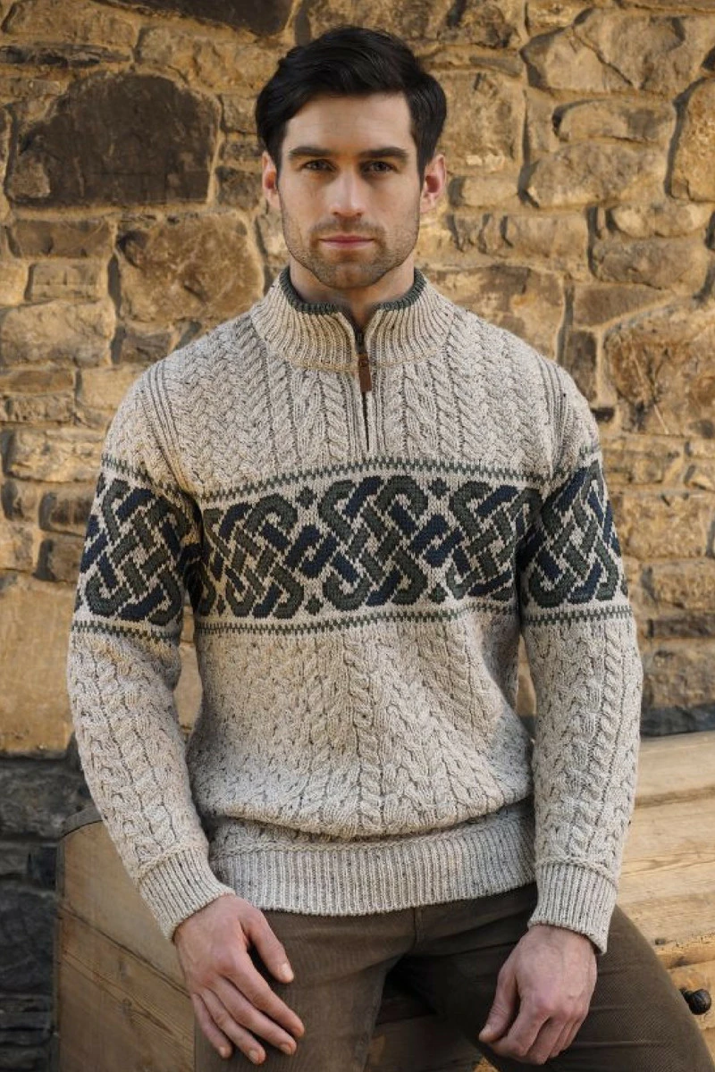 Sweater: Celtic Half Zip Jacquard Mens