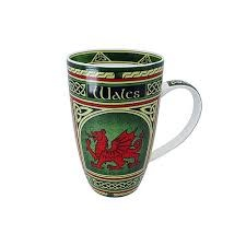 Clara Mug: Welsh Dragon Celtic Window