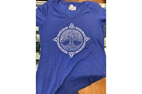 T Shirt: Womens V neck Royal Frost Tree of Life