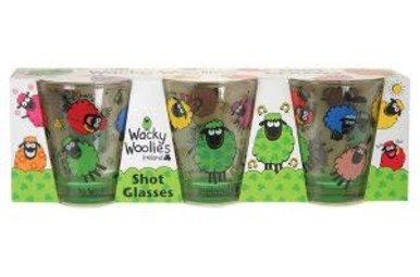 Wacky Woollies 3 Pack Shot Glass