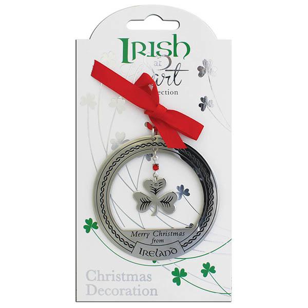 Ornament–Irish at heart Shamrock