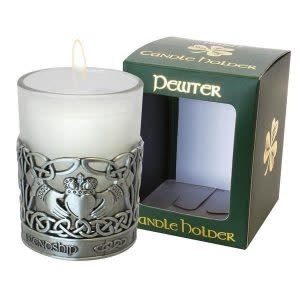Pewter Claddagh Candle Holder