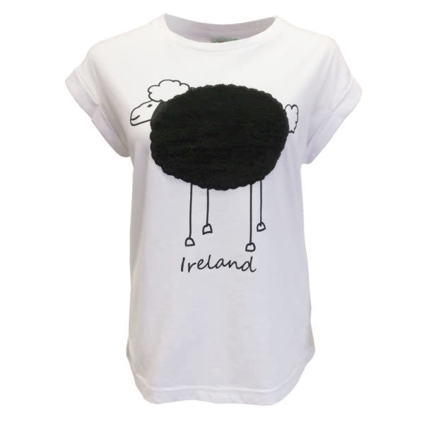 T-shirt-White Plush Sheep Rolled Sleeve Ladies