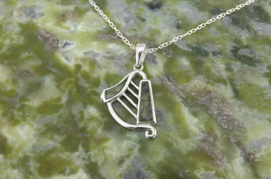 Pendant: Harp, Connemara Marble, SS