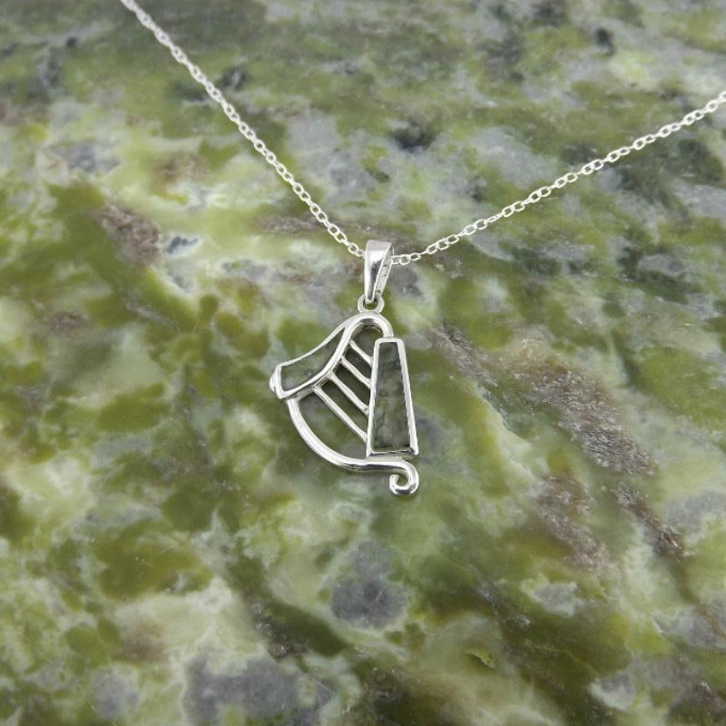 Connemara Marble Pendant: Harp, Connemara Marble, SS