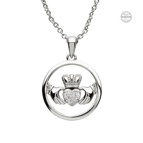 Platinum: White Claddagh Pendant