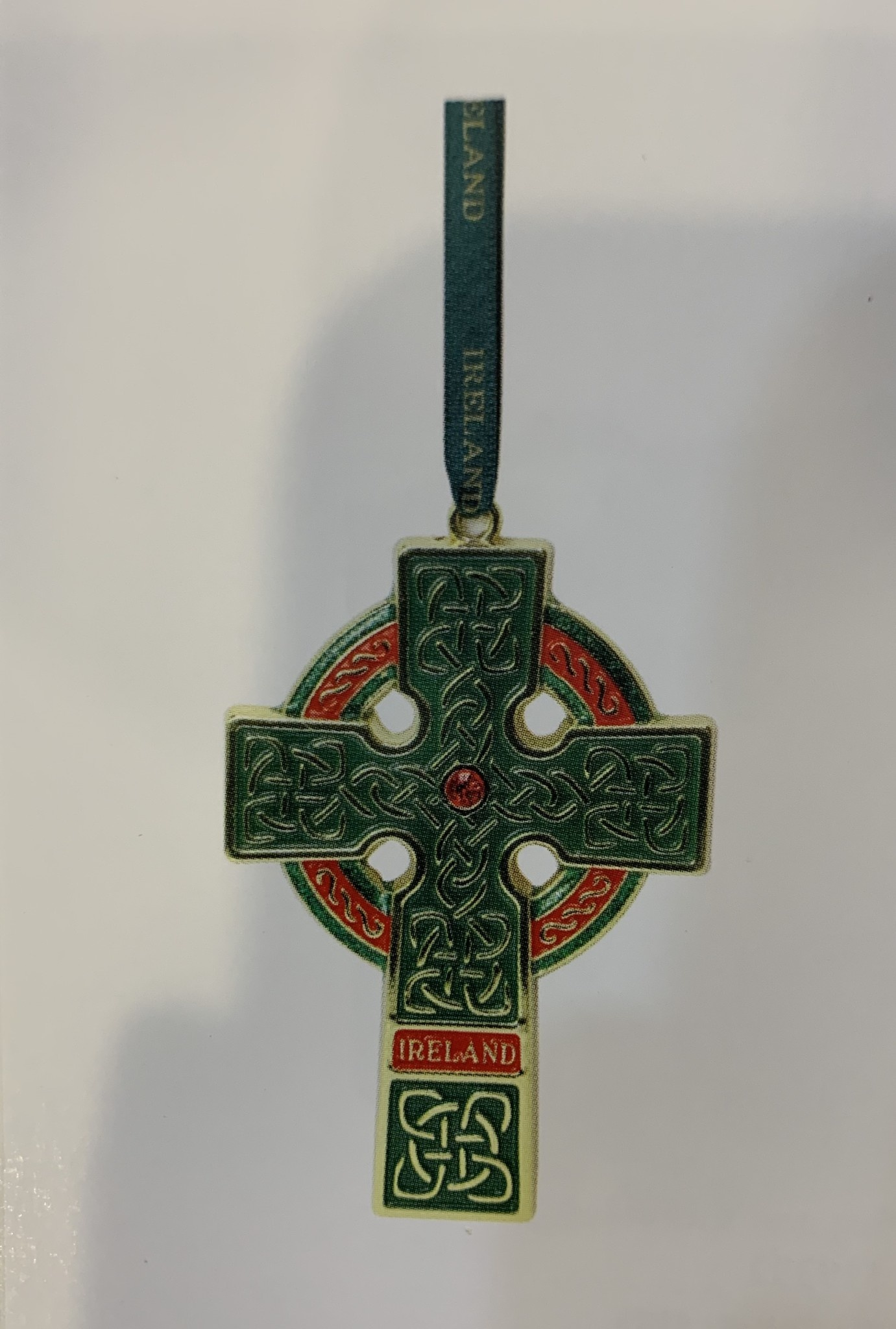 Ornament: Green Metal Trinity Cross