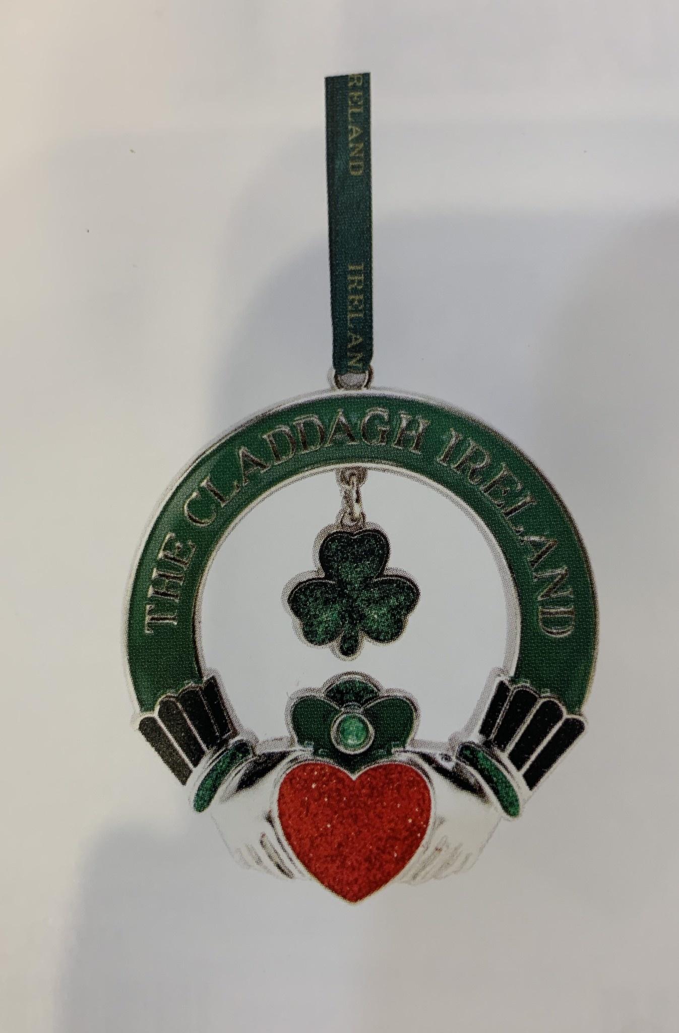 Ornament: Green Metal Shamrock Claddagh