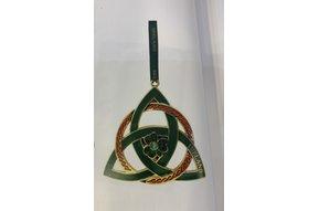 Ornament: Green Metal Trinity Knot