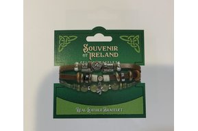 Bracelet: Leather Brown Marble Shamrock