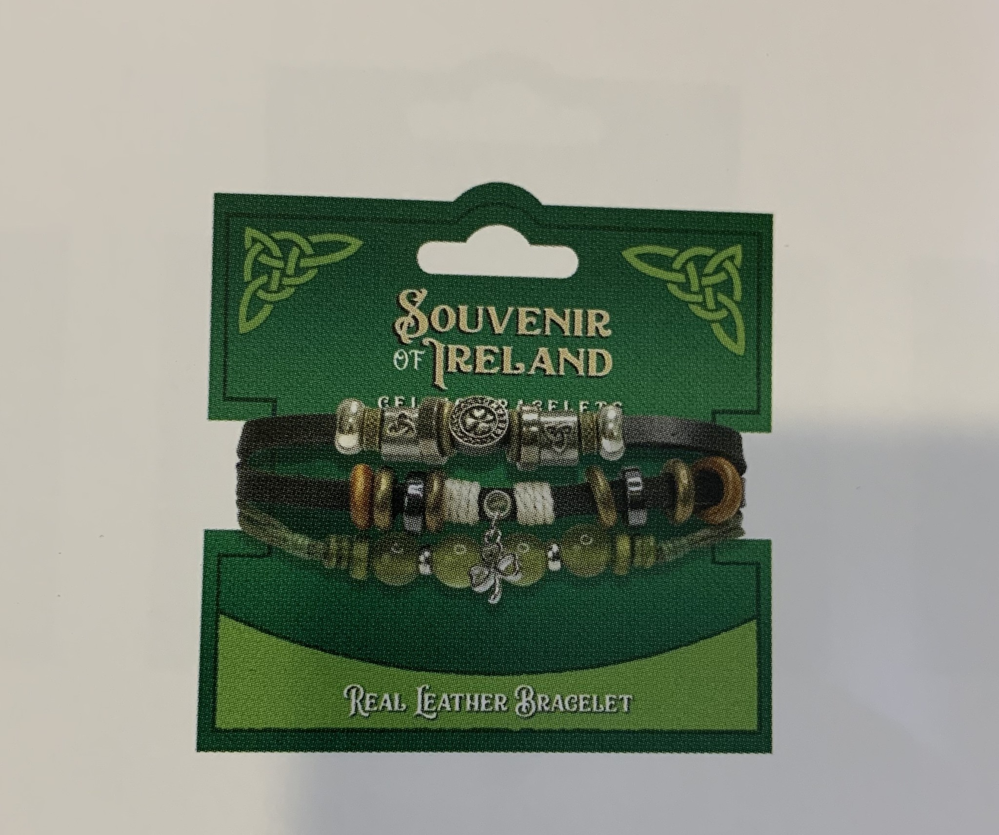 Bracelet: Leather Black Marble Shamrock