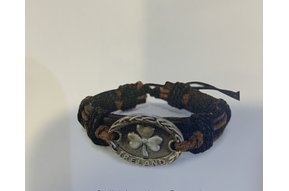 Bracelet: Leather Solid w/Shamrock Brown