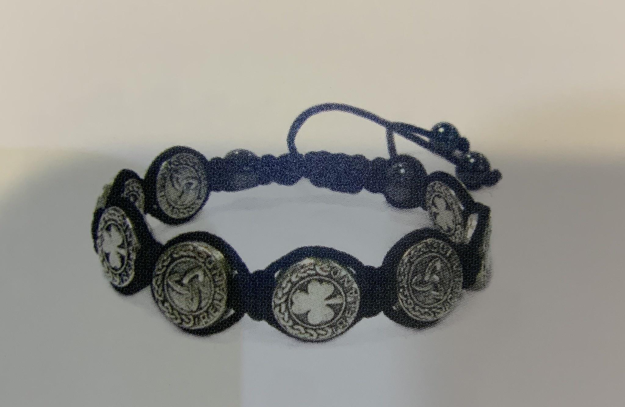 Bracelet: Leather 8 Button Shamrock/Trinity
